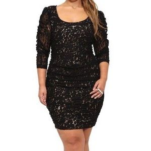 Torrid ruched lace black cheetah dress size 2